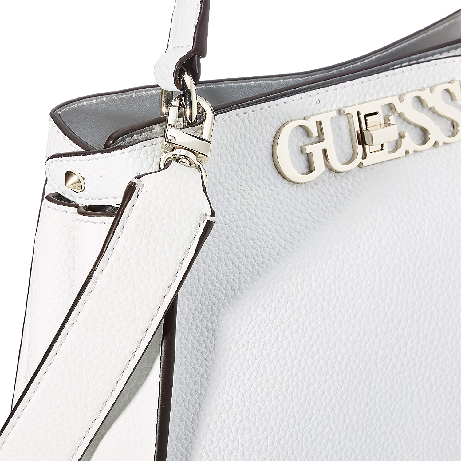 Guess Uptown Chic Turnlock Satchel, Classique Bianco
