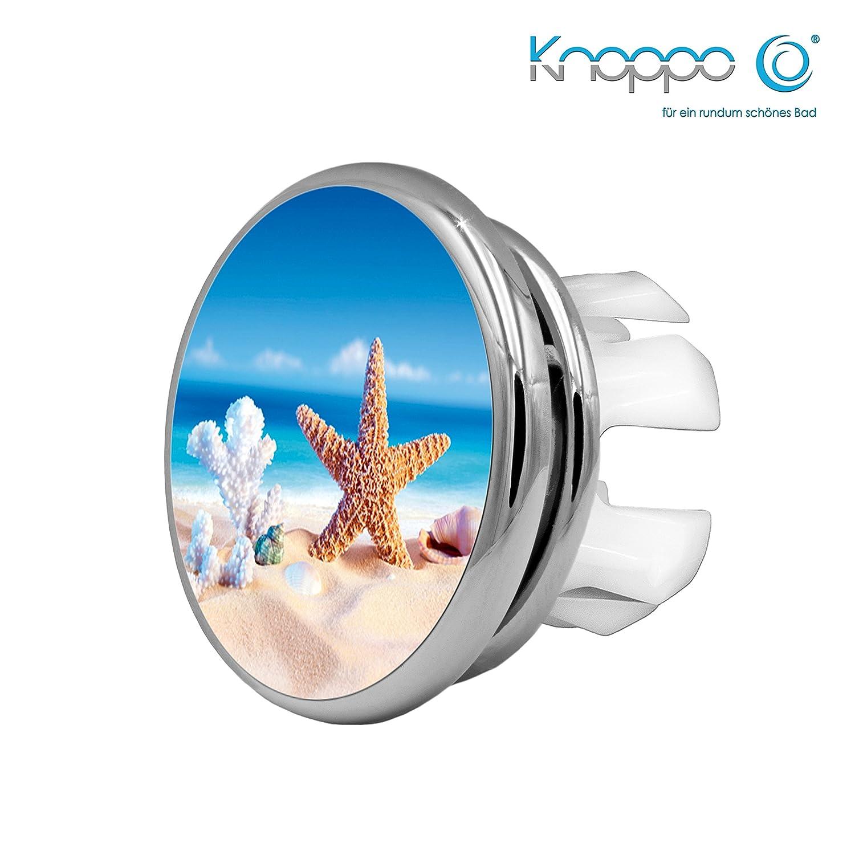 KNOPPO® 2er Set Waschbecken Design Überlauf Abdeckung, Überlaufblende, Überlaufrosette - Mirror Seestern Motiv (chrom)