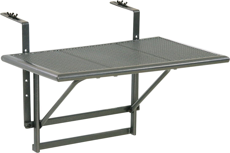60 x 40 x 56 cm grigio ferro Ribelli/® Tavolino da balcone tavolino da appendere alla ringhiera del balcone regolabile in altezza su 4 livelli ca in acciaio rivestito in plastica