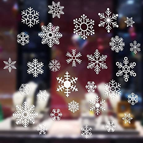 Amazoncom VLoveLife Cs White Static Snowflake Window Stickers - Snowflake window stickers amazon