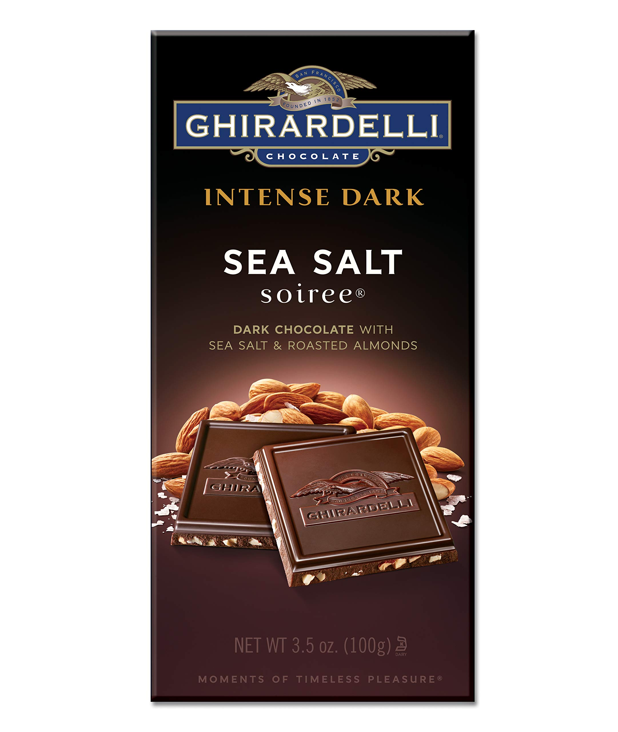 Ghirardelli Intense Dark Chocolate Sea Salt Soiree Bar, 3.5 oz, Pack of 6