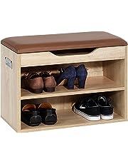 IDIMEX Meuble à Chaussures Zapato Banc avec Assise et 2 étagères Rangement pour 6 Paires mélaminé décor chêne Sonoma
