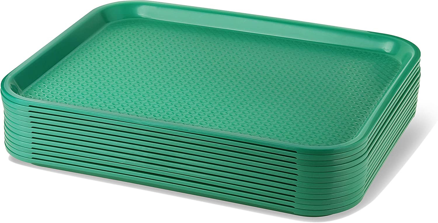 New Star Foodservice 24784 Green Plastic Fast Food Tray, 14 by 18-Inch, Set of 12