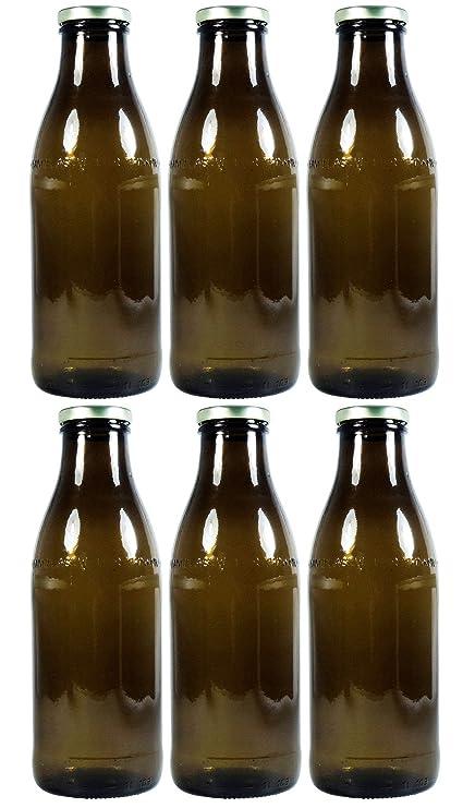 6 x Marrón Leche Botella 1,0 l, Zumo con rosca para rellenar Incluso