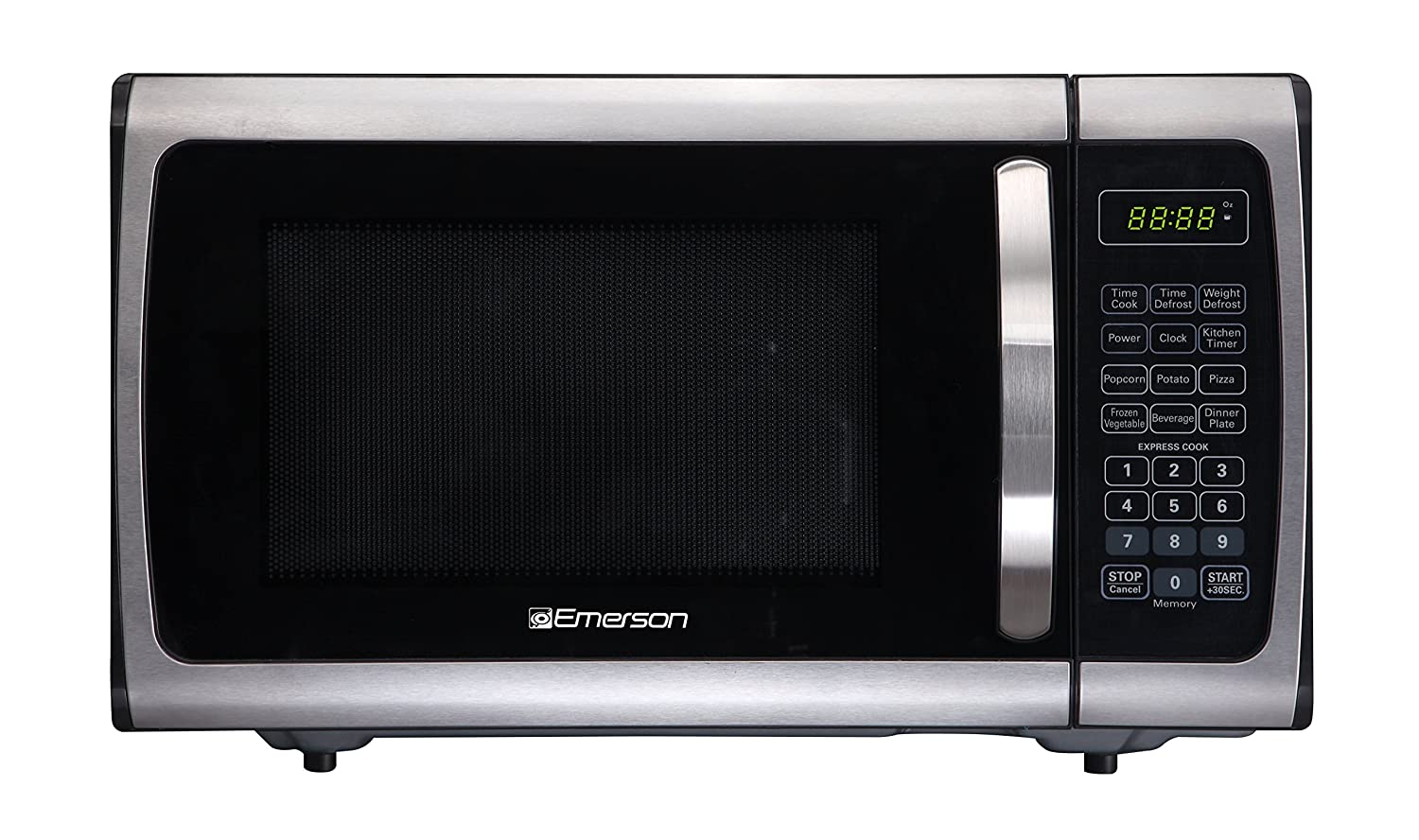 Emerson Radio Emerson ER105005 Single Microwave Oven - Stainless Steel, Black 0.9