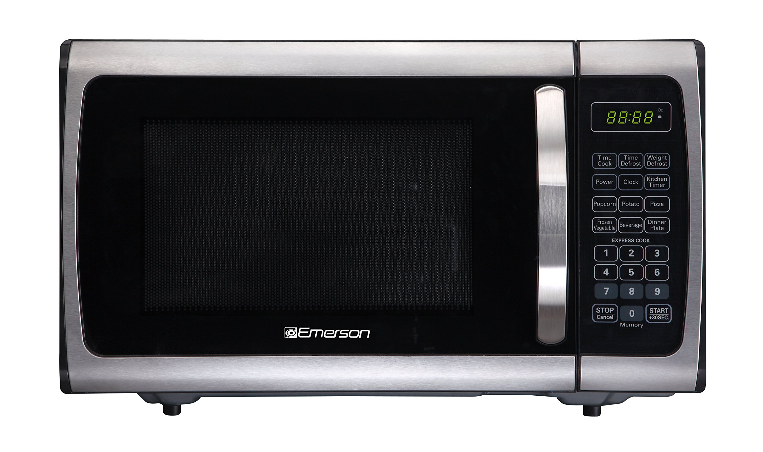 Emerson Radio ER105005 Counter Top Microwave, 0.9 Cu Ft, 900 Watt, Stainless and Black
