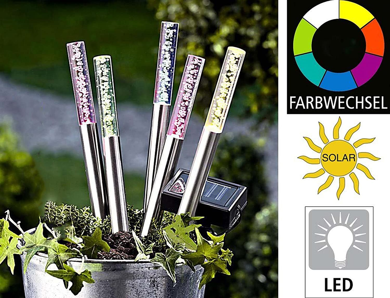 5er Set Edelstahl/ Acryl Solar LED Garten Stick. Solarleuchte mit ...