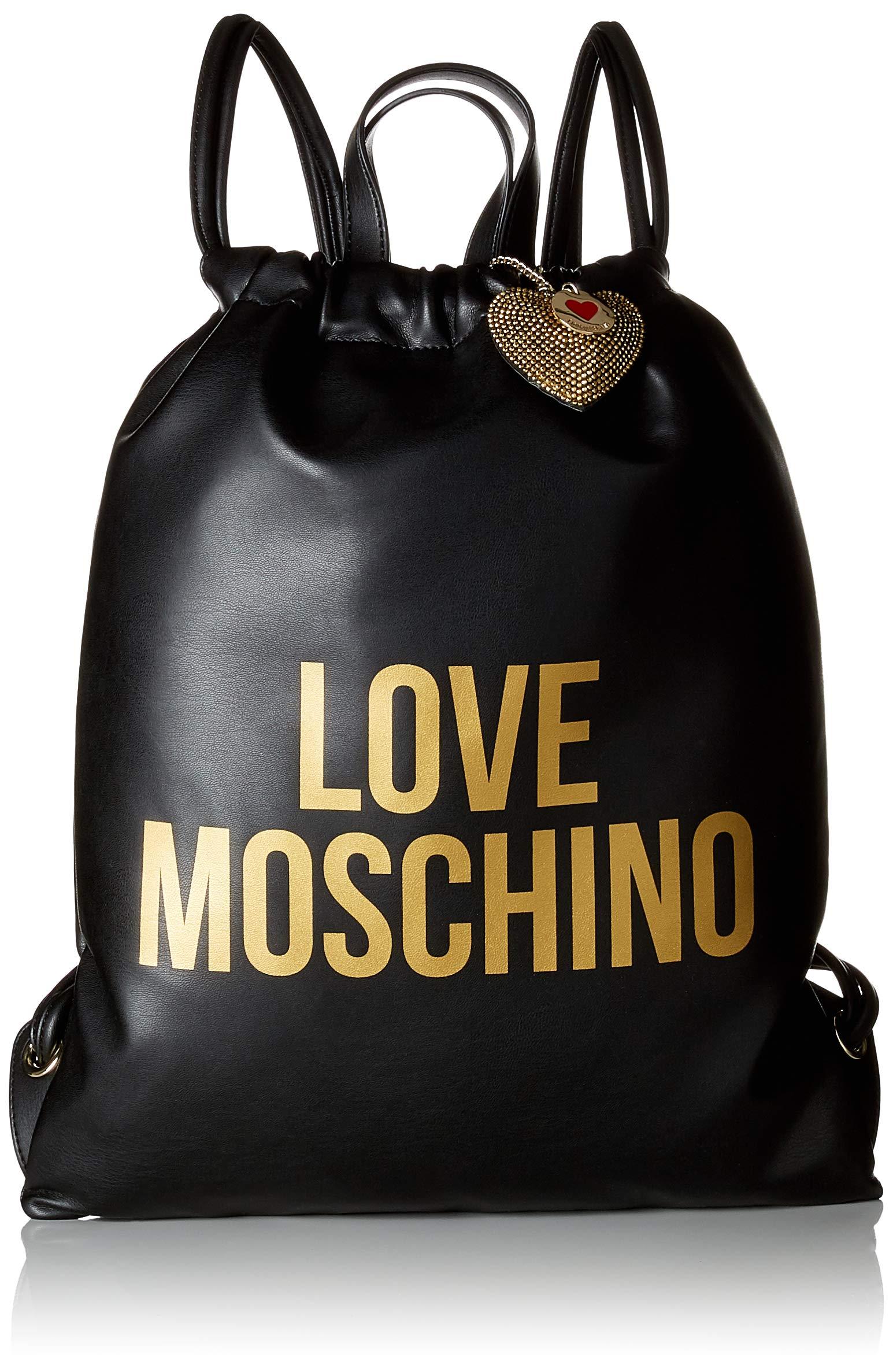 Love Moschino Borsa Pu, Women's Backpack Handbag, Black (Nero-Stampato Oro), 1x41x35 cm (B x H T)