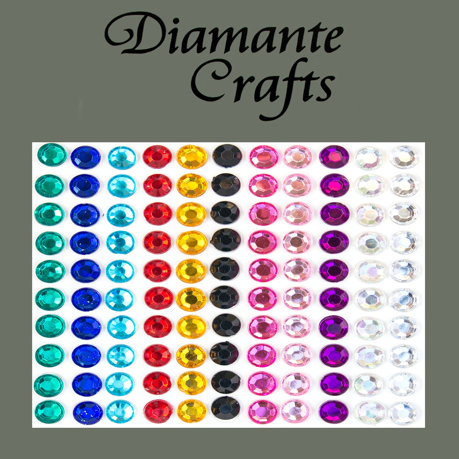 110 x 6mm Mixed Colours Diamante Self Adhesive Rhinestone Body Vajazzle Gems - created exclusively for Diamante Crafts