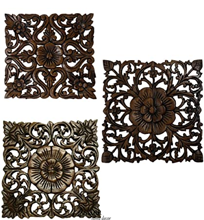 Amazon.com: Set of 3 Carved Wood Wall Plaques. Floral Wood Wall ...