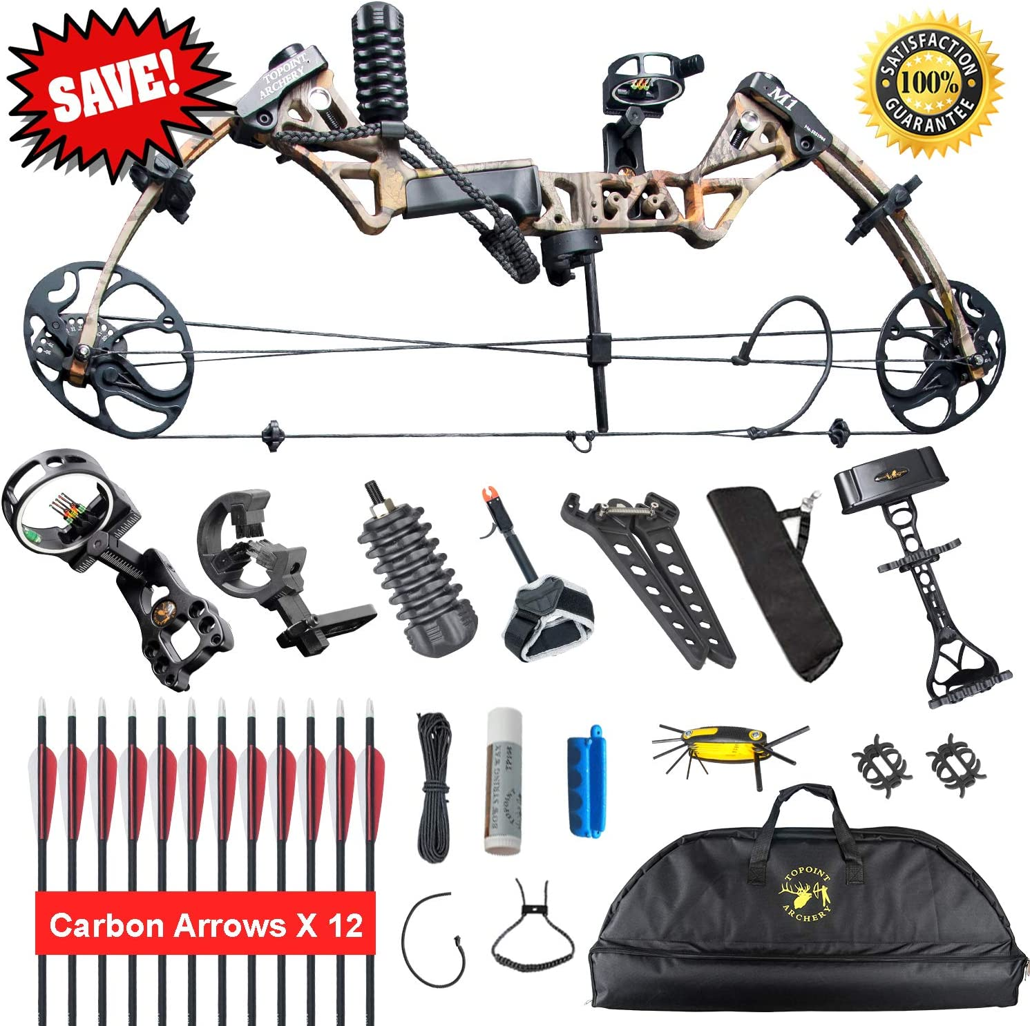 XGeek Compound Bow Compound Hunting Bow Kit Limbs Made in USA 19 -30 Draw Length,19-70Lbs Draw Weight Up to 320FPS 2 Years Warranty