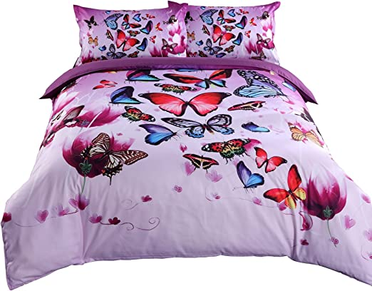 Amazon.com: Alicemall 3D Purple Bedding Beautiful Butterflies and