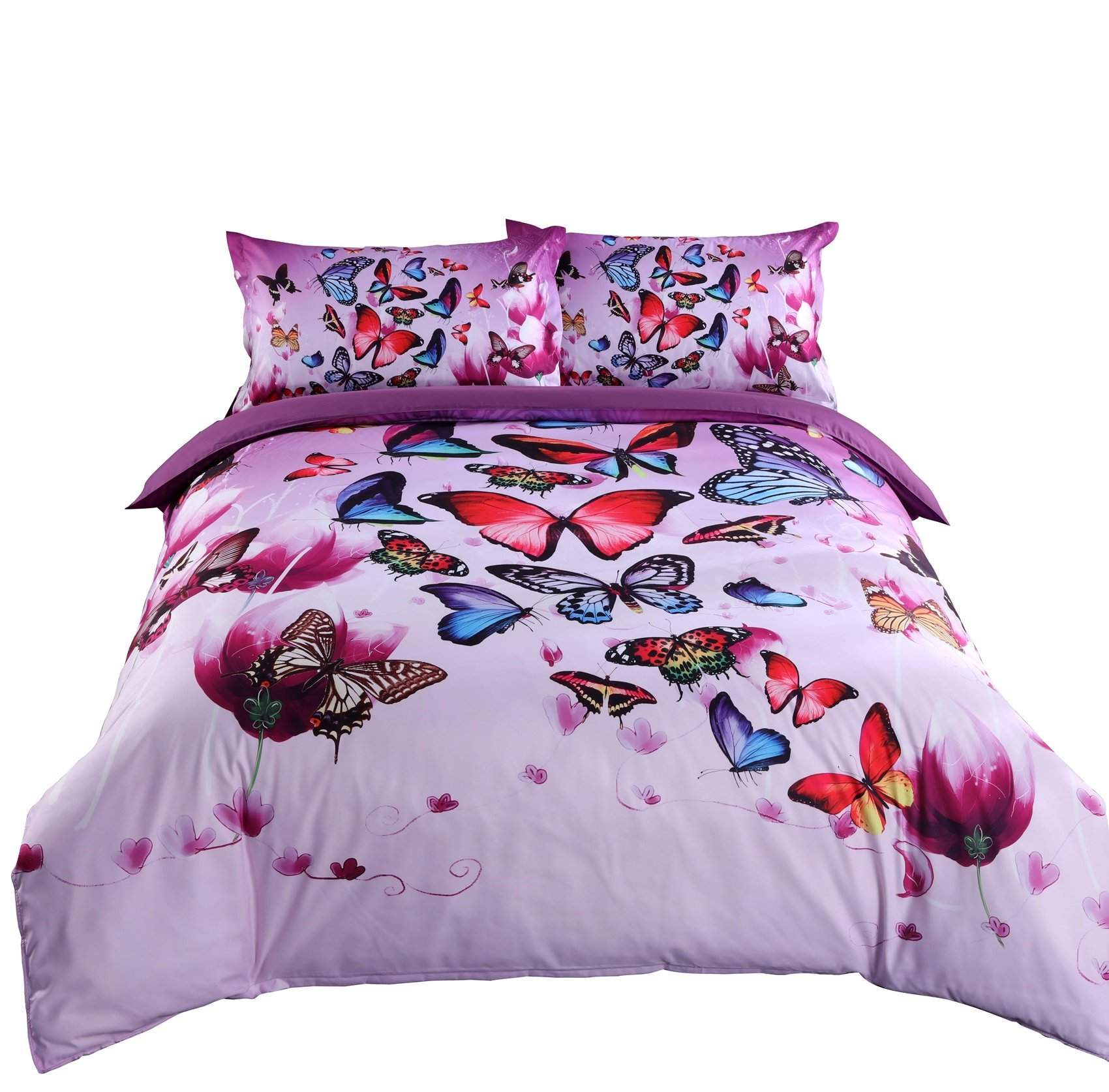 Alicemall 3D Purple Bedding Beautiful Butterflies and Purple Flower Bedding Sheets set, 4 Pieces Soft and Breathable Duvet Cover Set, Twin Size Girls Bedding (Twin, Purple)