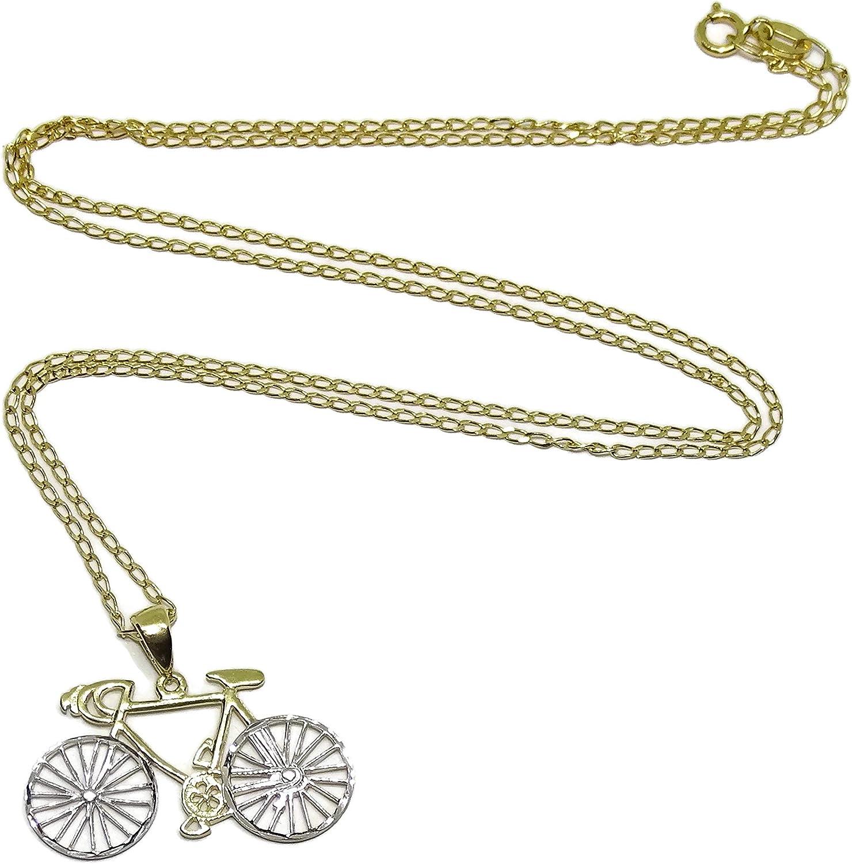 Never Say Never Colgante de Bicicleta de Oro Amarillo y Oro Blanco ...