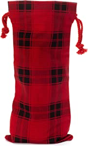 Buffalo Plaid Wine Bottle Gift Bag for Christmas, New Years, Holiday Parties - 13