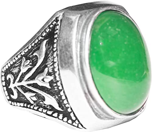 Unique Mens Ring For Men Jade  Gemstone Man Jewelry  Silver Engraved Ring free express shipping