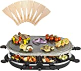 Andrew James Electric Raclette Hotplate Party Grill Machine with Oval Stone Hot Plate - 8 Fondue Cheese Pans and Wooden Spatulas Set Included - Great for Indoor Table Top Use - 1200W