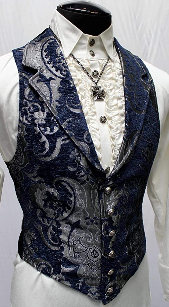 Shrine Mens Victorian Tapestry Vest Silver