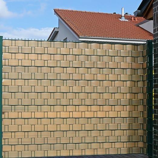 Videx Visión – Tiras para vallas, PVC imitación de madera, H: 9, 5 x l: 200 cm, teca: Amazon.es: Jardín
