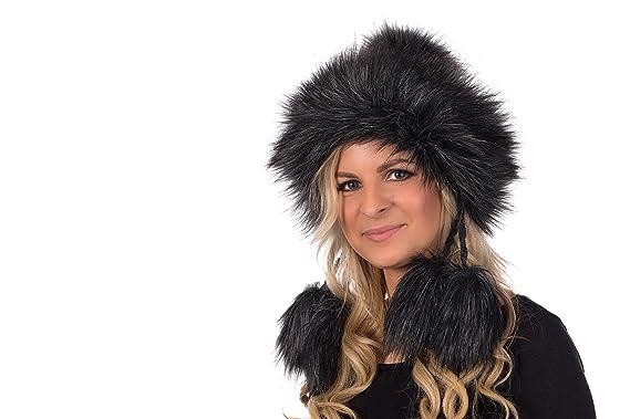 1c5a59be43f01b Sarah B Tatra Mütze Birendy Mütze mit Fleecefutter, Pudelmütze, Wintermütze  mit Fellbommeln aus Fellimitat