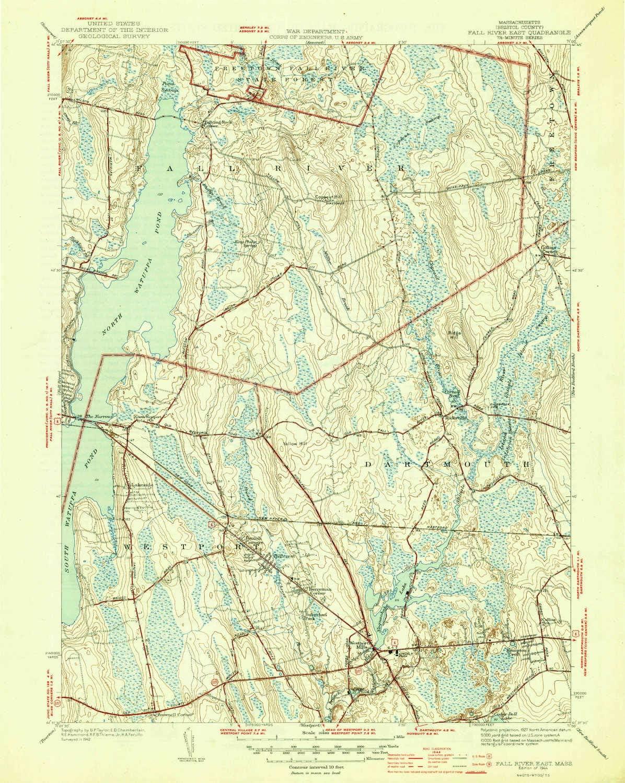 Amazon.com : YellowMaps Fall River East MA topo map, 9:39680 Scale