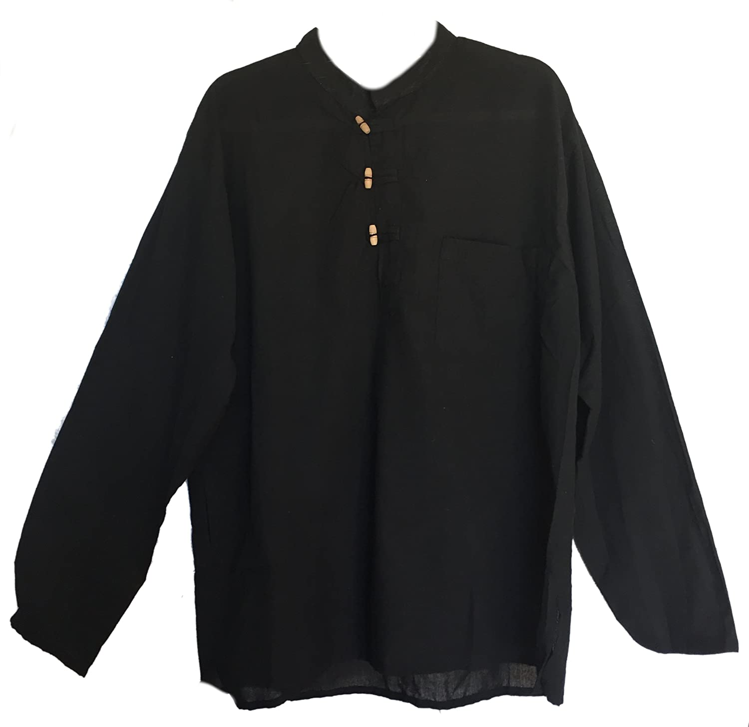 Men's Hand Loomed Black Cotton Banded Collar Tunic