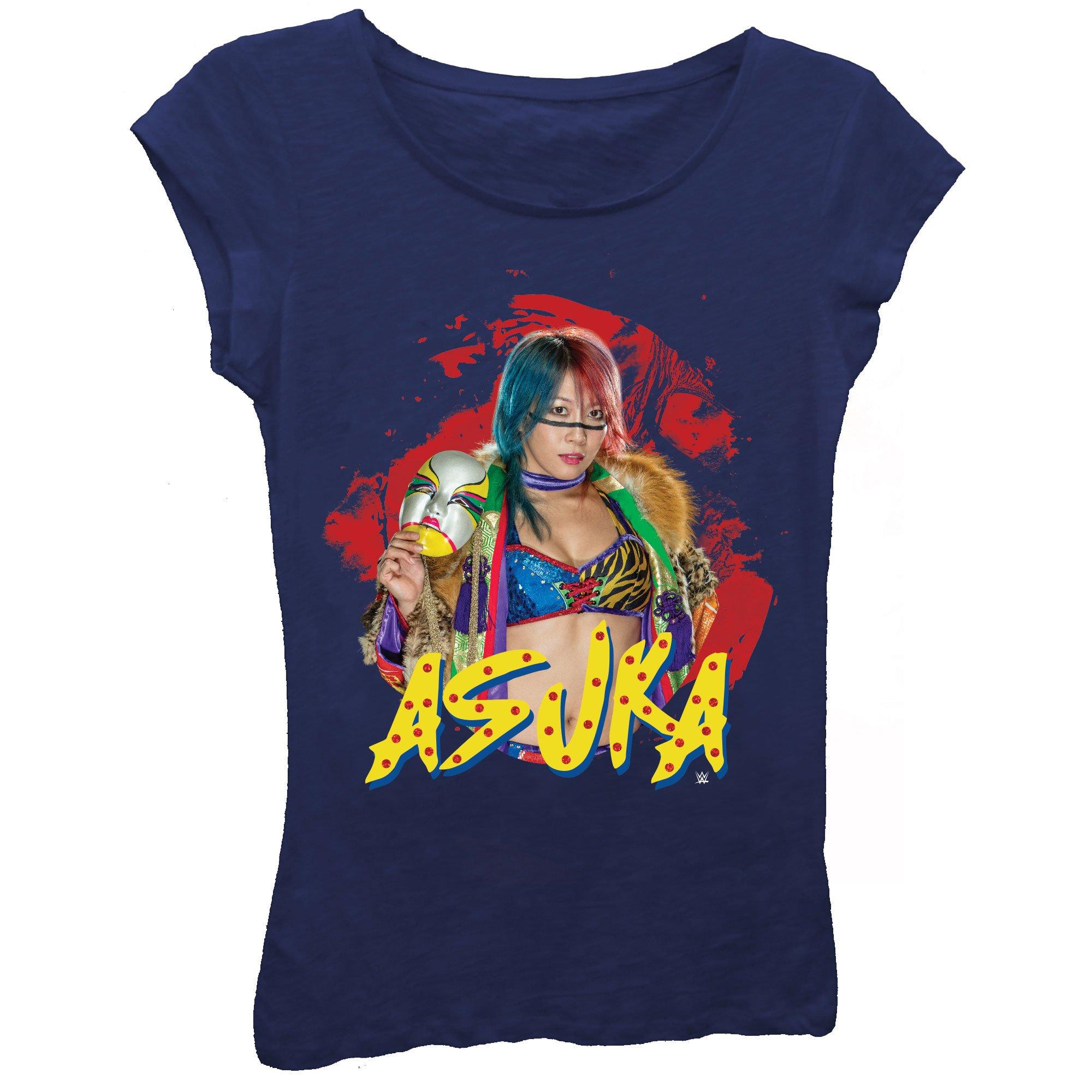 Asuka Painted Warrior WWE Girls Kids Blue T-Shirt-YM