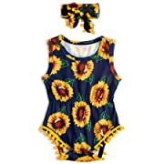 Leapparel Cute Blue Sun Flower Print One-Piece Pompom Bodysuit 6-12 Months Toddler Baby Girl Outfits Summer Clothes with Headband