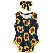 0-3 Months Infant Girls Clothing Set Summer Sleeveless Yellow Sun Flower Print Romper Jumpsuit + Headband Outfits