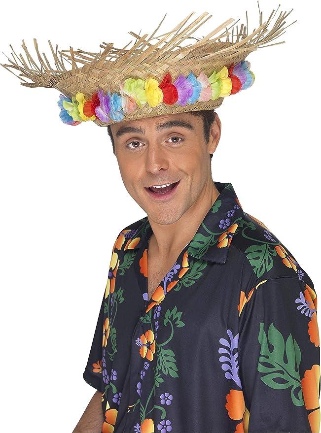 Fiestas Guirca Cappello Tropicale in Paglia per Travestimento Hawaiano