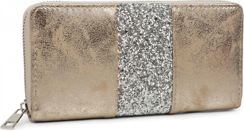 styleBREAKER monedero con rayas de lentejuelas alrededor, cremallera, cartera, señora 02040056, Color Dorado antiguo/Plateado: Amazon.es: Equipaje