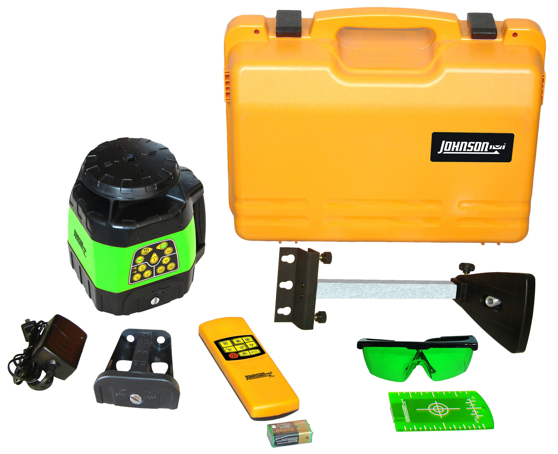 Johnson Level and Tool 40-6544 Electronic Self-Leveling Horizontal and Vertical Rotary Laser Kit with Green Brite Technology