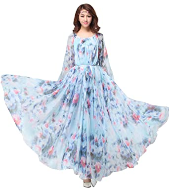 f7ffc2e1186 Medeshe Long Sleeved Floral Chiffon Boho Lightweight Bridesmaid Maxi Dress  Sundress  Amazon.co.uk  Clothing