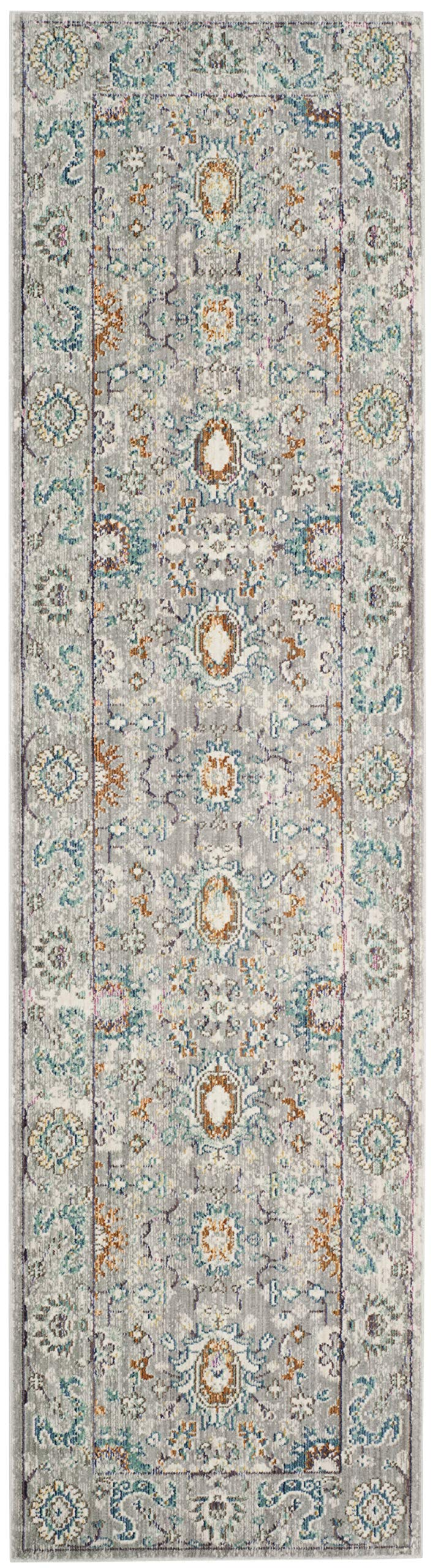 "Safavieh Mystique Collection MYS924R Vintage Watercolor Grey and Multi Distressed Runner (2'3"" x 8') - The power loomed construction add durability to this rug, ensuring it will be a favorite for a long time This rug is crafted of polyester The modern style of this rug will give your room a contemporary accent - runner-rugs, entryway-furniture-decor, entryway-laundry-room - 81b9582AlvL -"