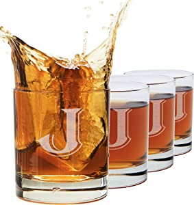 (J-Monogram)- 4 Piece Set of 11 Ounce Engraved Heavy Base Rocks Glasses Elegant Glass-Multi-Purpose Beverage-Rocks Glass- Perfect Gift for any Occasion- By: On The Rox