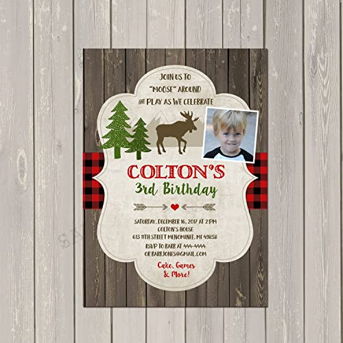 Moose Lumberjack Birthday Invitations Base Price Is For A Set Of 10 5x7 Cardstock