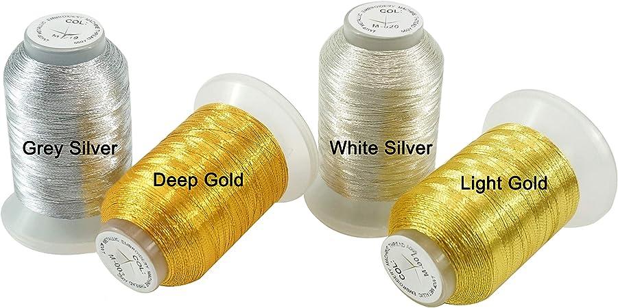 New brothread 4 Colores (2 Oro+2 Plata) metálico Bordado Máquina Hilo 550M para bordado computarizado y costura decorativa: Amazon.es: Hogar