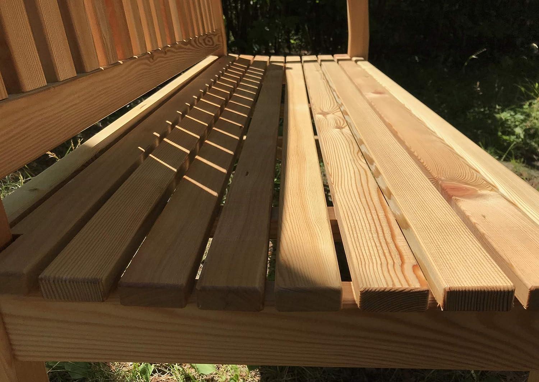 Banco de jardín de 2 plazas, banco de madera, banco, bancos de madera maciza de alerce siberiano.: Amazon.es: Jardín