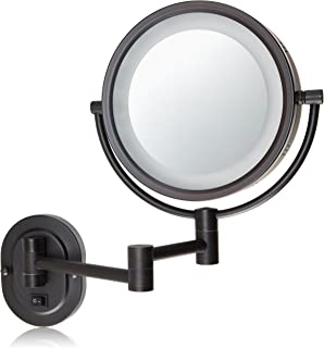 amazon com jerdon hl75nd 8 5 inch lighted direct wire wall mount jerdon hard wired 8 inch two sided swivel halo lighted wall mount mirror
