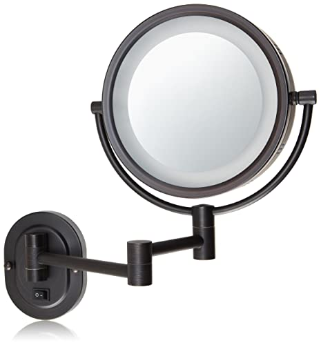 Jerdon HL65BZD 8-Inch Lighted Direct Wire Wall Mount Makeup Mirror
