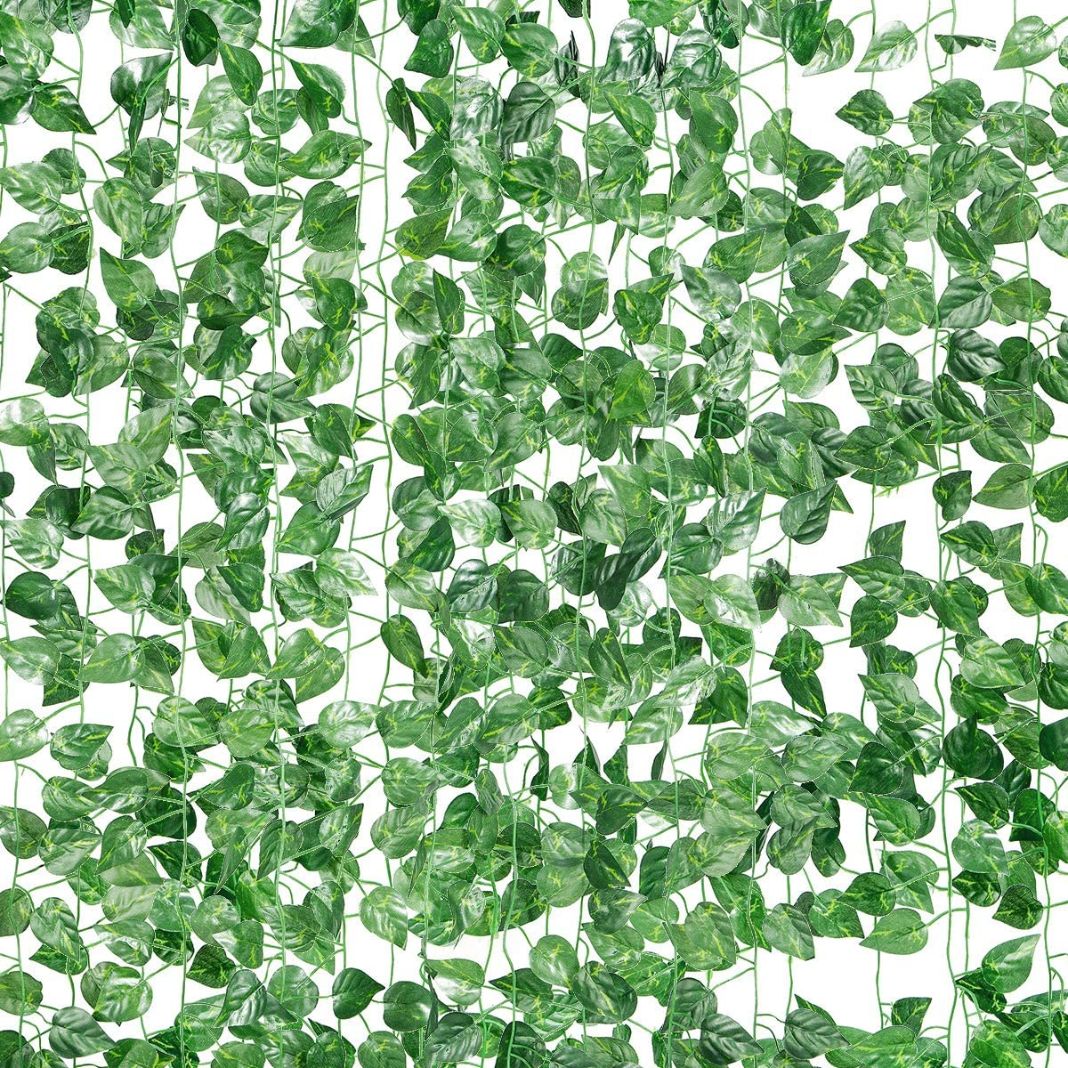 LuLuHouse 78Ft 12 Strands Artificial Ivy Leaf Plants Greenery Hanging Vines for Home Room Garden Office Wedding Wall Decor (Scindapsus)