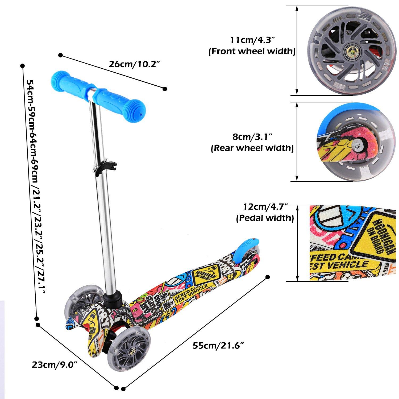 Amazon.com: Kemanner Kids Kick Scooter con ruedas LED Micro ...