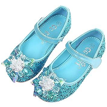 FStory&Winyee Mädchen Prinzessin Sandalen Kinder ELSA Schuhe Partei Glitzer Kristall Schuhe Mädchen Kostüm Zubehör Karneval Verkleidung Party