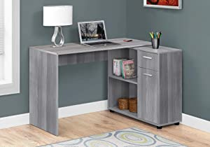 Monarch Specialties Workstation with Storage Shelves and Cabinet for Home & Office-Contemporary Style L Shaped Computer Desk, 46