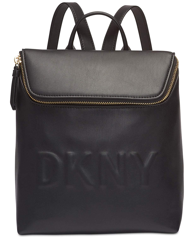(ダナキャラン ニューヨーク) DKNY 女性用スモールロゴバックパック Women`s Backpack(並行輸入品) One Size ブラック/ゴールド B07PF6R8H3