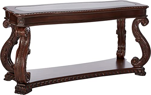 Doyle Sofa Table with Glass Inlay Top Brown