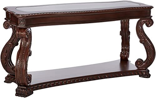 Doyle Sofa Table with Glass Inlay Top Brown