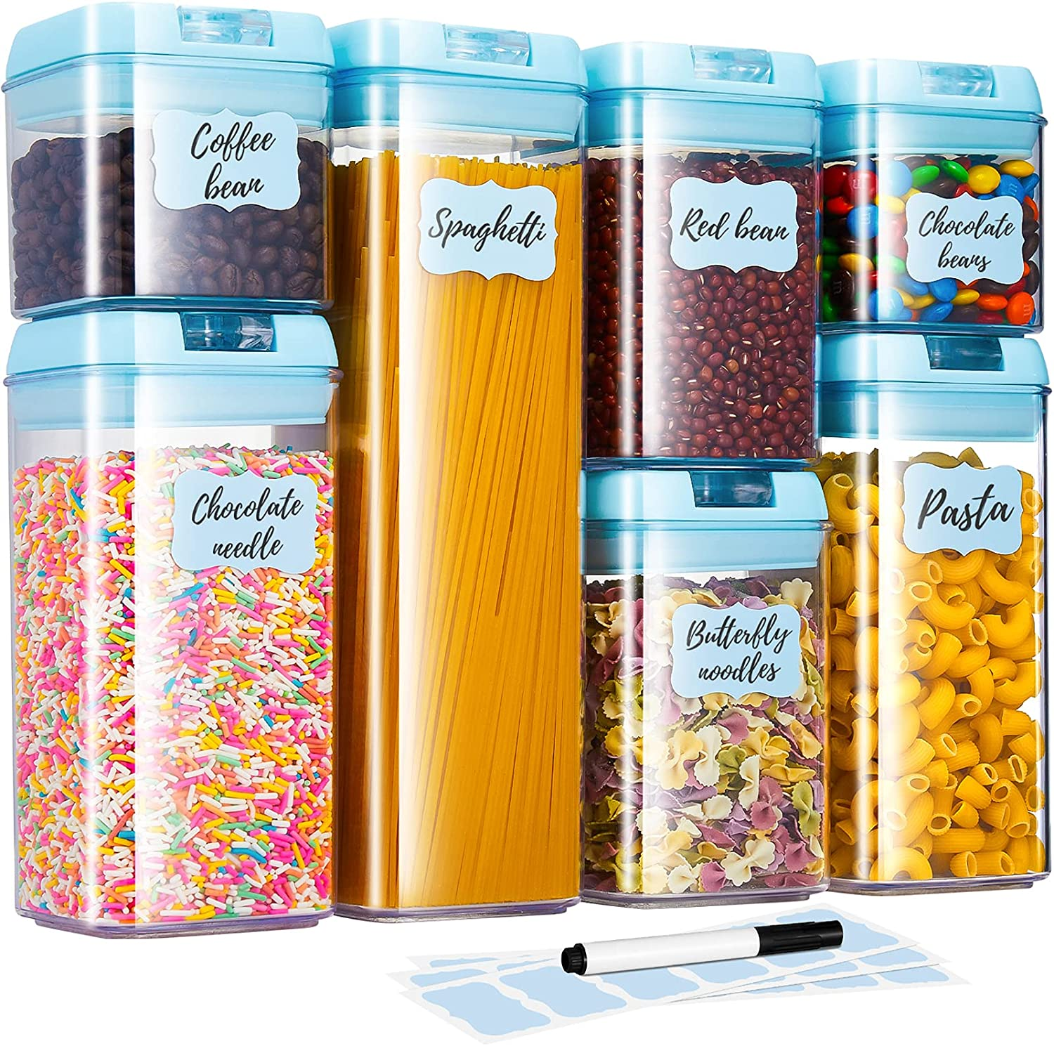 Airtight Food Storage Containers, 7 Pieces Plastic Cereal Container Set with Lids for Dry Food, BPA-Free Pantry Organization Canisters (18 Labels & 1 Chalk Marker)