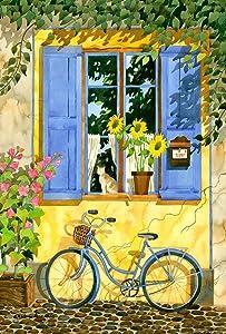 Toland Home Garden Cobblestone Cruiser 12.5 x 18 Inch Decorative Spring Summer Flower Bicycle Kitty Cat Garden Flag