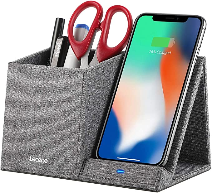 10W Fast Wireless Charger with Desk Organizer Qi Certified Fabric Induction Charger Stand Pen Pencil Holder Compatible iPhone 11Xs MAXXRXSX8,